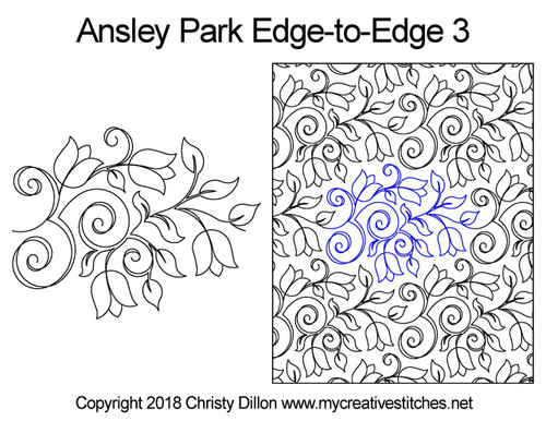 Ansley park edge to edge 3 digital quilt design