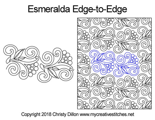 Esmeralda edge to edge digital quilt design