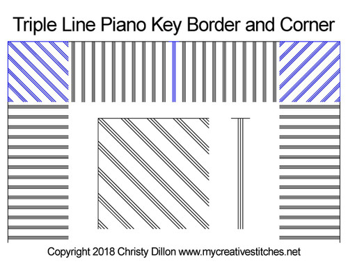 Triple line piano key border & Corner quilting