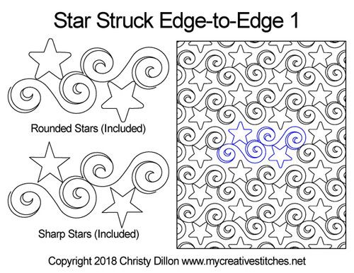 Star struck edge to edge digital quilt designs