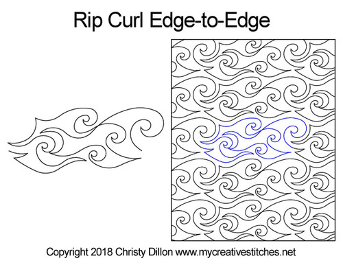 Rip curl edge to edge digital quilt design
