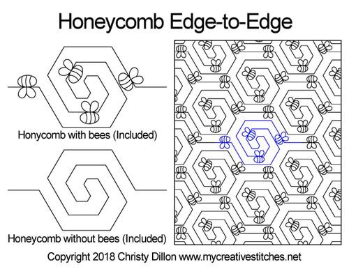 Honeycomb edge to edge digital quilt design