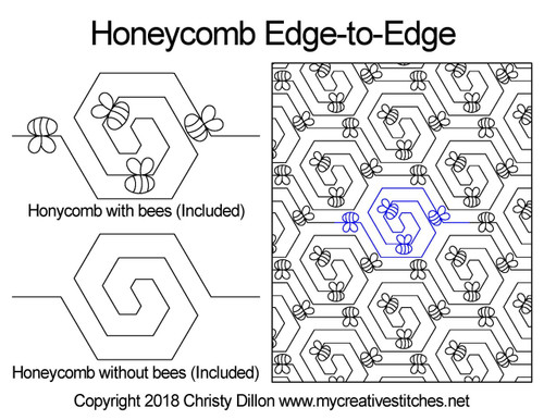 Honeycomb edge to edge digital quilt design bee