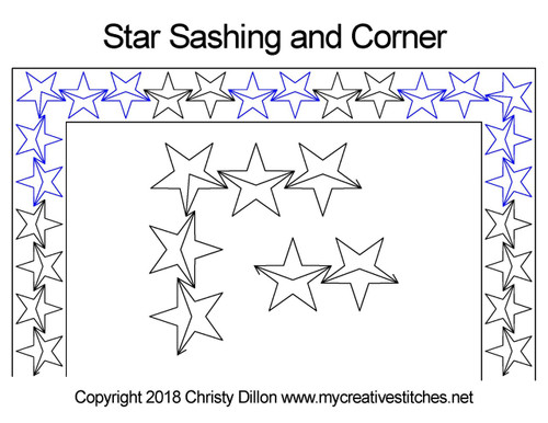 Star sashing & corner quilting designs