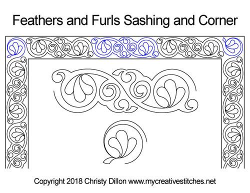 Feathers and furls sashing & corner quilt ideas