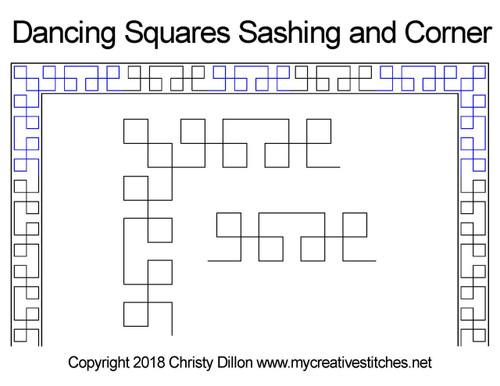 Dancing squares sashing & corner quilt design