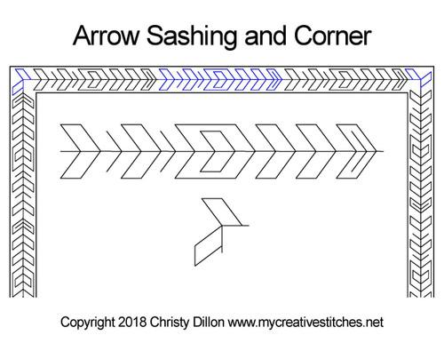 Arrow sashing & corner quilting pattern