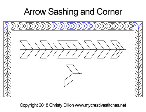Arrow sashing & corner quilting pattern