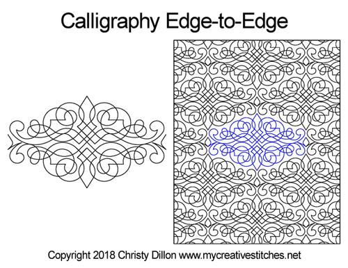 Calligraphy edge to edge digital quilt designs