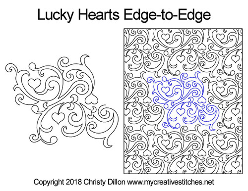 Lucky heart free edge to edge quilting designs