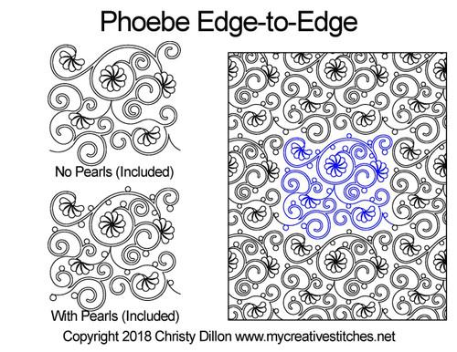 Phoebe edge to edge digital quilting patterns