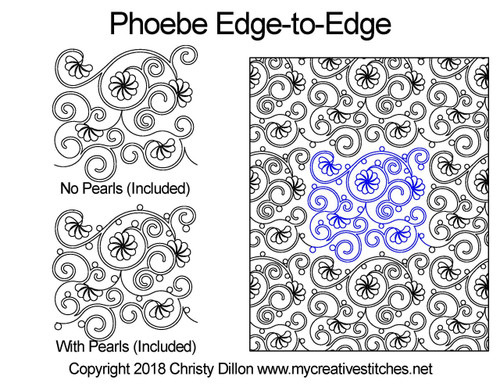 Phoebe edge to edge digital quilting patterns