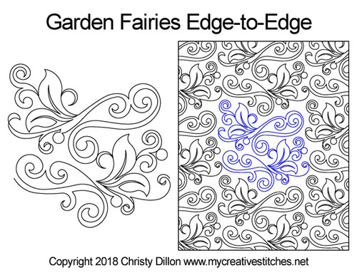 Garden fairies edge to edge quilt designs