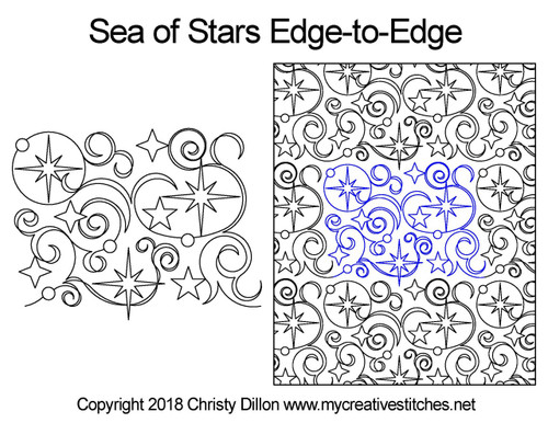Sea of stars edge to edge quilting design