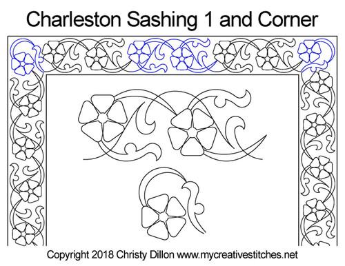 Charleston sashing & corner quilt design