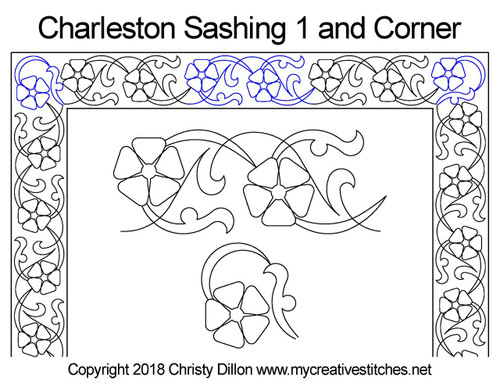 Charleston sashing & corner quilt design
