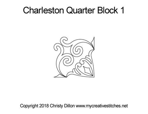 Charleston quarter block 1 quilting designs