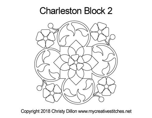 Charleston digitized quilting pattern for block