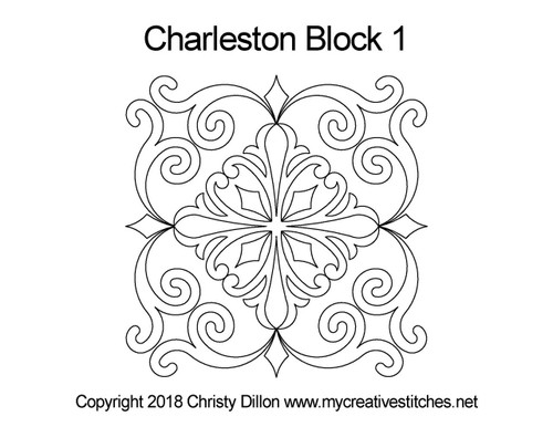 Charleston quilting patterns for block 1