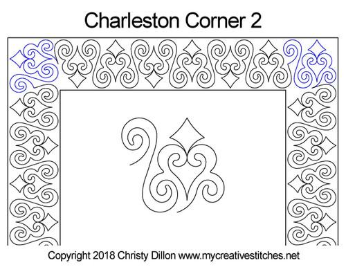 Charleston digitized corner 2 quilt pattern