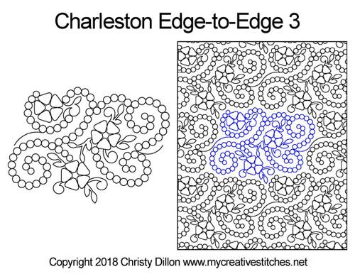 Charleston edge to edge 3 longarm quilting patterns