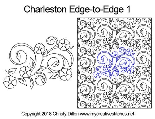 Charleston edge to edge 1 digital quilt pattern