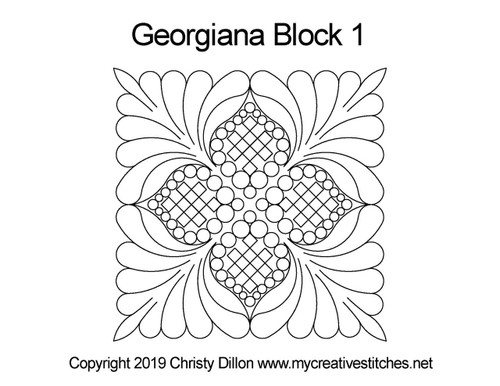Georgiana quilting design for block 1