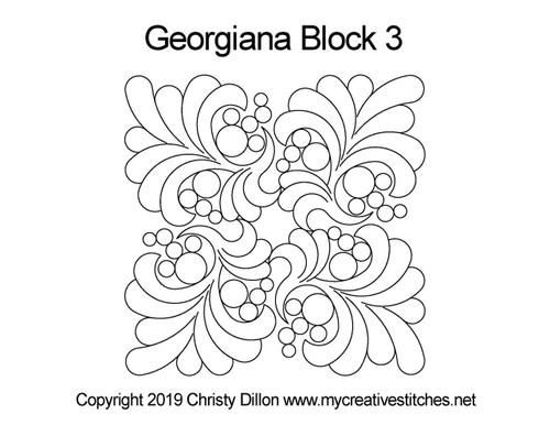 Georgiana quilting design for block 3