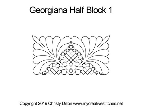 Georgiana half block 1 digital quilting pattern