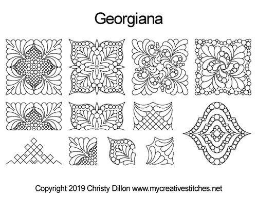 Georgiana digital quilting design set