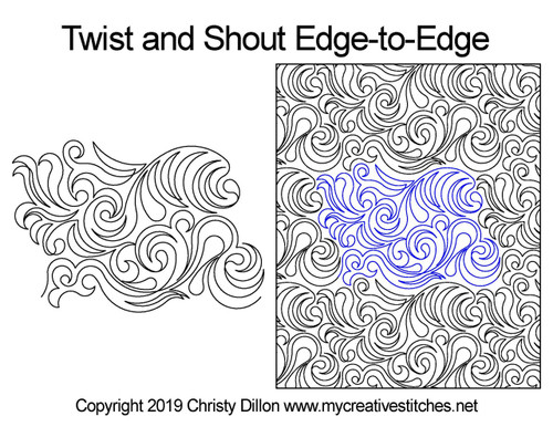 Twist and shout edge to edge digital quilting patterns