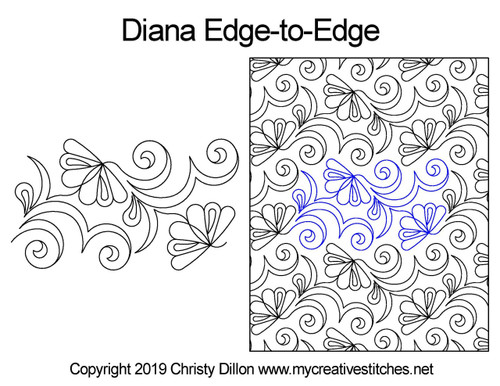Diana edge to edge digital quilting patterns
