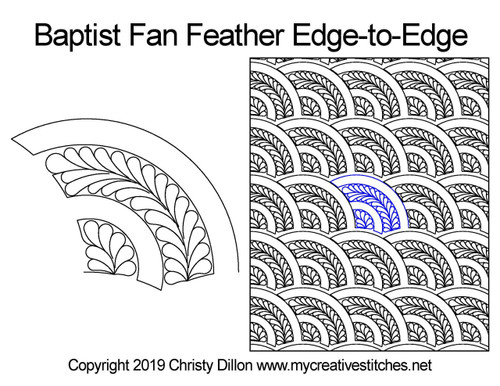 Baptist fan feather edge to edge digital quilting