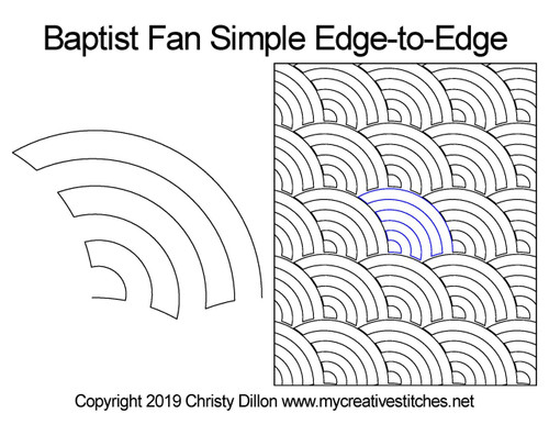 Baptist fan simple edge to edge designs