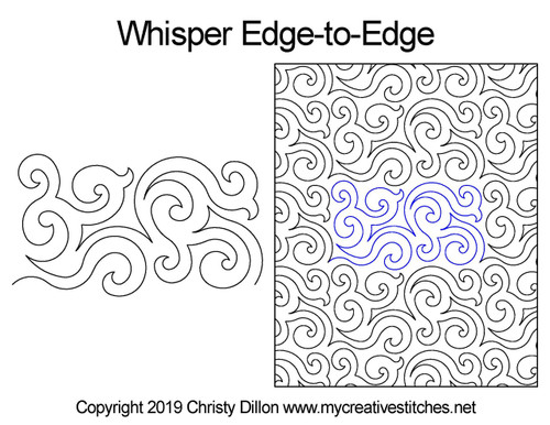Whisper edge to edge quilting designs