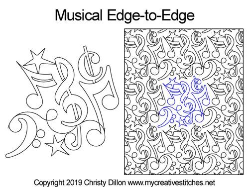 Musical edge to edge digital quilt design
