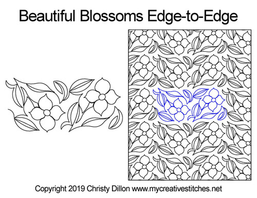 Beautiful blossoms edge to edge digital quilting