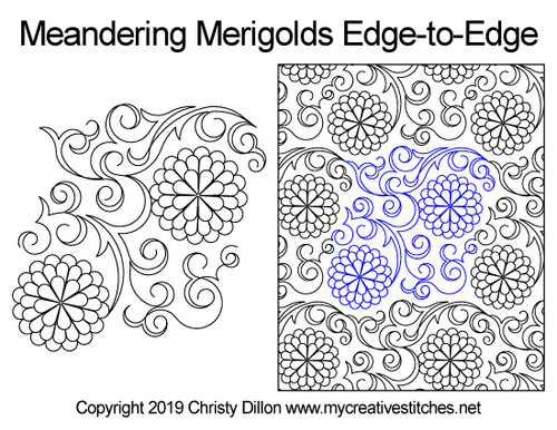 Meandering merigolds edge-to-edge quilting