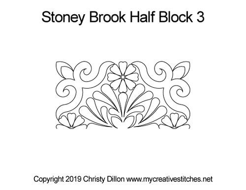 Stoney brook half block 3 quilting design