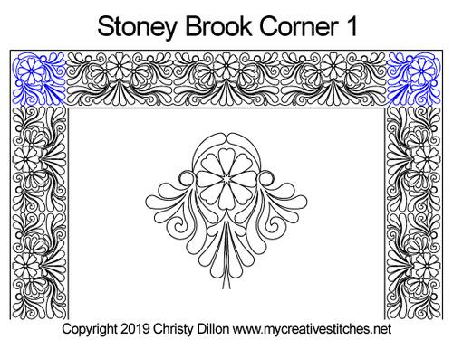 Stoney brook digitized corner 1 quilt pattern
