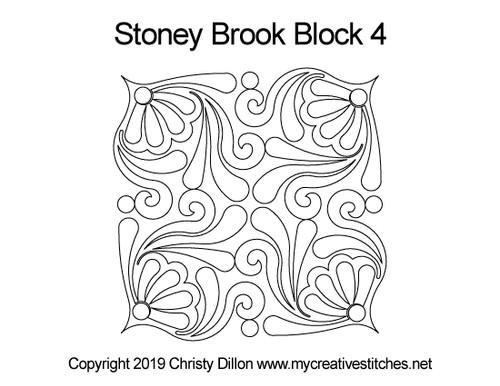 Stoney brook quilting design for block 4