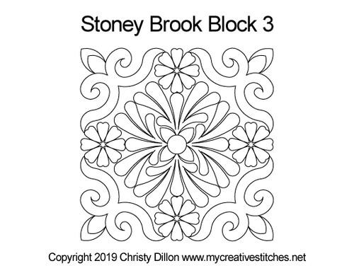 Stoney brook quilting design for block 3