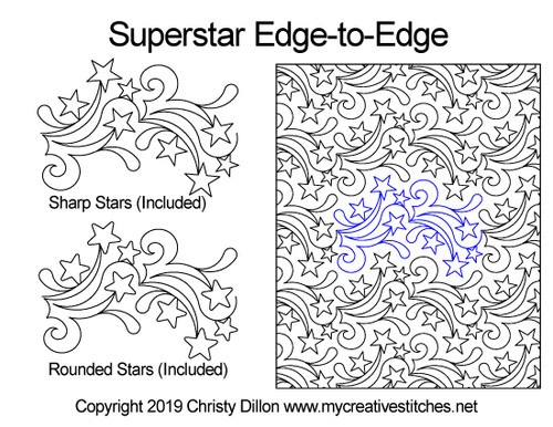 Superstar edge to edge designs