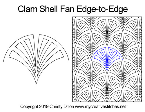 Clam shell fan edge-to-edge quilt design