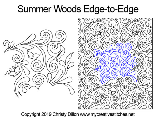 Summer woods edge-to-edge quilt pattern