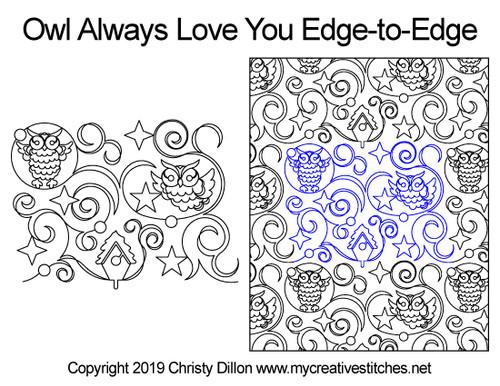 Owl always love you edge to edge designs
