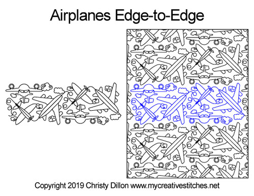 Airplanes edge to edge digital quilt designs