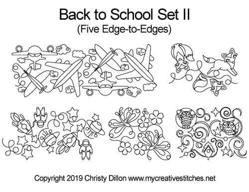 Back to school digital quilting patterns