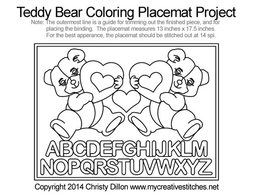 Teddy Bear Coloring Free Placemat Project