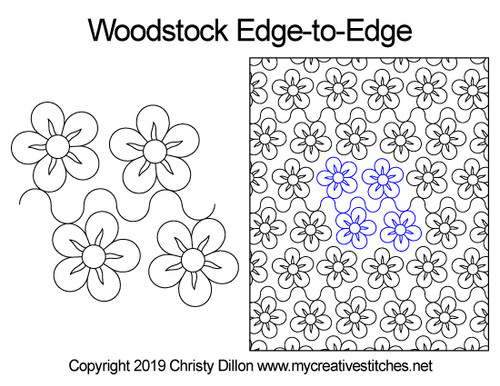Woodstock edge to edge digital quilting patterns
